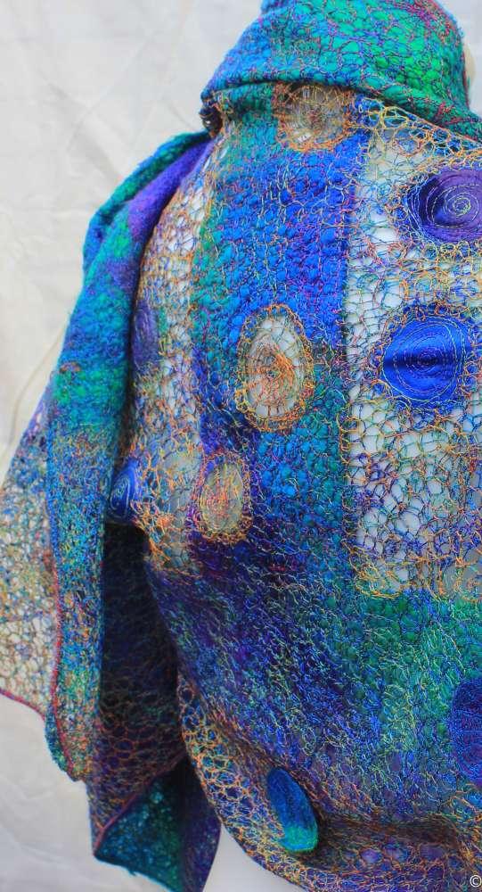 Lilly pond wrap free motion silk scarf
